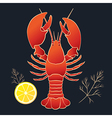 Lobster with lemon and dill vector image