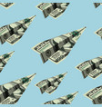 aircraft dollars seamless pattern money banknote vector image