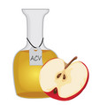 apple cider vinegar and a half of an apple vector image vector image