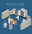 bakers factory isometric background vector image vector image