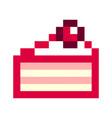 birthday cake pixel art cartoon retro game style vector image vector image