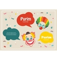 Card for Jewish holiday Purim with clown and vector image vector image