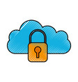cloud padlock security protection system vector image vector image