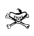 cowboy pirate skull cross bones retro vector image vector image