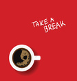 cup of coffe on red vector image