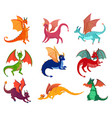 cute fairy dragons set vector image vector image
