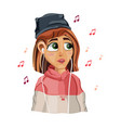 cute girl listening to music cartoon vector image