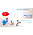 family time horizontal banner with copy space vector image