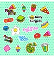Fashion patch badges Pop art Fast food set vector image vector image