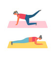 fitness training and sport girls in plank on mat vector image
