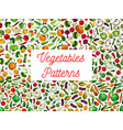 fresh vegetables seamless pattern set vector image