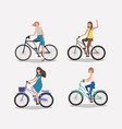 group of women on bicycle vector image vector image