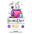 halloween party poster on white background vector image vector image