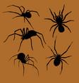 halloween spiders silhouette set vector image