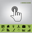hand click on button black icon at gray vector image vector image