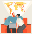 happy young couple planning a world tour vector image