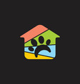 home and pet shop paw colorful logo vector image vector image