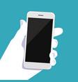 human hand with smartphone modern flat design vector image vector image