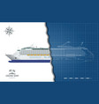 isolated blueprint cruise ship side view vector image