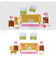 living room before and after cleaning concept vector image