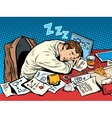 Man businessman sleeping on the job vector image vector image