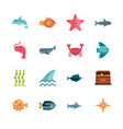 marine life cartoon sea fauna animal set vector image vector image