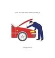 Mechanic produces vehicle diagnostics vector image