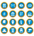 museum icons blue circle set vector image vector image
