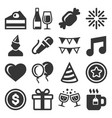 party and celebration icons set on white vector image vector image