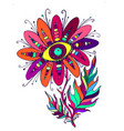 psychedelic vintage flowerwith the eye vector image