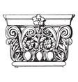 roman-corinthian pilaster capital corinthian vector image vector image