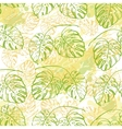 Seamless pattern contour leaves vector image vector image