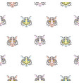 seamless pattern with tiger heads scandinavian vector image vector image