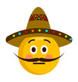 serious emoji with a gentleman hat vector image