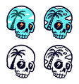 set coconut skull isolated on a white vector image vector image