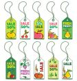 Set of fruits tags