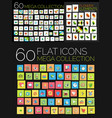 set of square flat web icons vector image