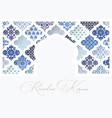 silhouette white ornamental mosque window vector image