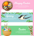 spring and happy easter web banners set vector image