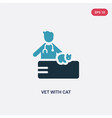 two color vet with cat icon from people concept vector image