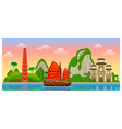 vietnam skyline with colorful buildings and dawn vector image vector image