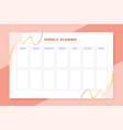 weekly time schedule planner template vector image