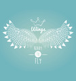 wings ready to fly emblem vector image