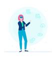 woman in vr glasses - flat design style colorful vector image vector image