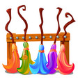 wooden stand with colorful brooms witches vector image vector image