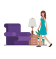 young woman in the livingroom avatar character vector image