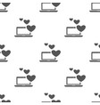 seamless laptop with heart pattern love symbol vector image