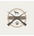 Hunting Vintage Emblem with Guns and Dog vector image