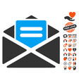 open mail icon with valentine bonus vector image