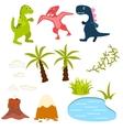 Set of cartoon dinosaur clipart vector image